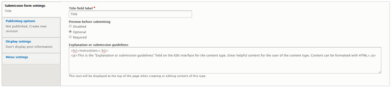 Submission field settings for the content type