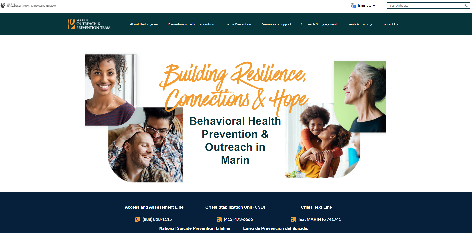 Marin County prevention and outreach website