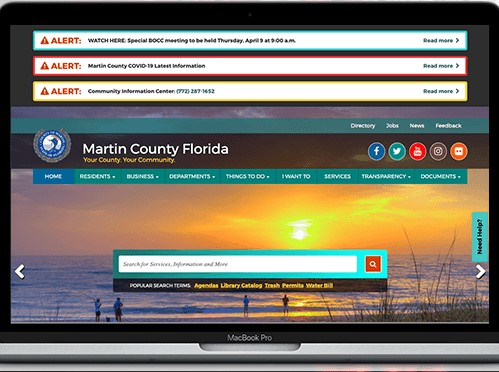home page of the Martin County Florida website