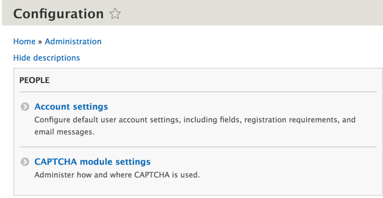 CAPTCHA module settings