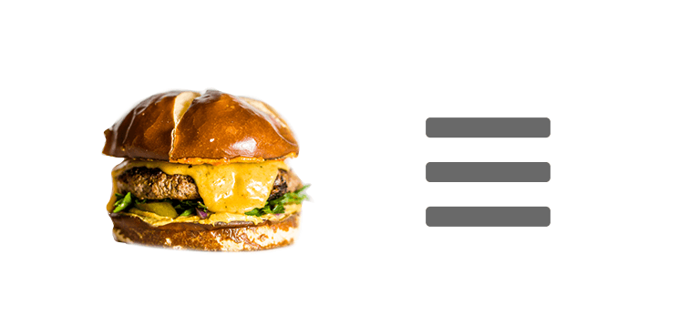 Actual hamburger on the left. A web hamburger icon on the right.