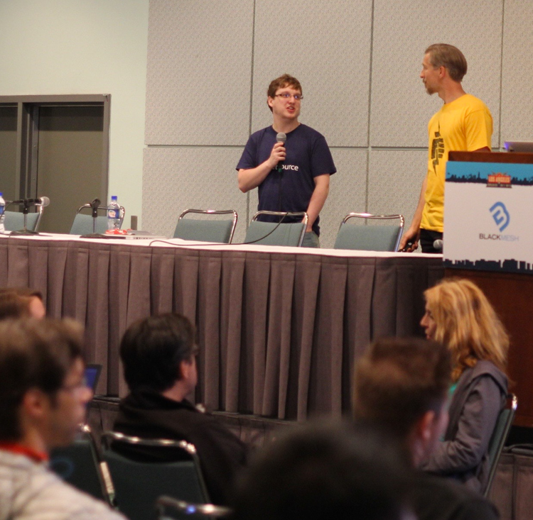 Doug Dobrzynski (left) of Promet Source and Greg Anderson of Pantheon present a session on Composer workflows at DrupalCon LA