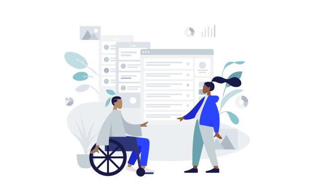 Illustration of a man in a wheelchair and a woman reaching out with website wireframes in the background