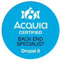 Acquia Back End Specialist (D8) badge