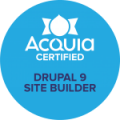 badge for Drupal 9 Site Builder , blue with Acquia logo