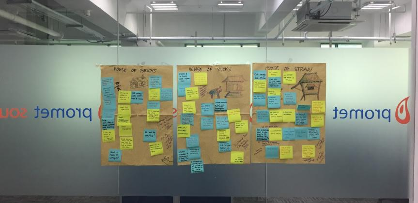 retrospective post it brainstorm wall