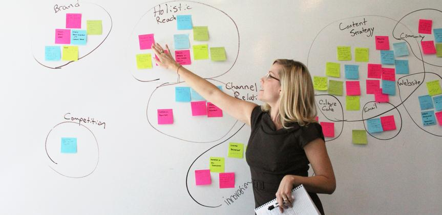 Photo of Mindy League at a white board covered with colored Post It Notes