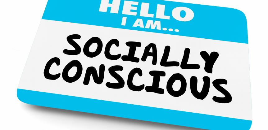 A nametag with the words: Hello I'm Socially Conscious