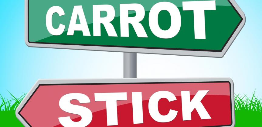 "Two directional signs: one that reads ""carrot"" another that reads: ""stick."""
