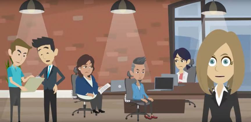 Animated image of people working in an office