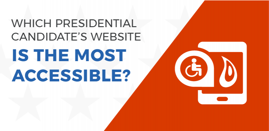 "Header image with the words: ""Which presidential candidate's website is the most accessible,"" along with a wheelchair icon image and the Promet Sourcelogo"