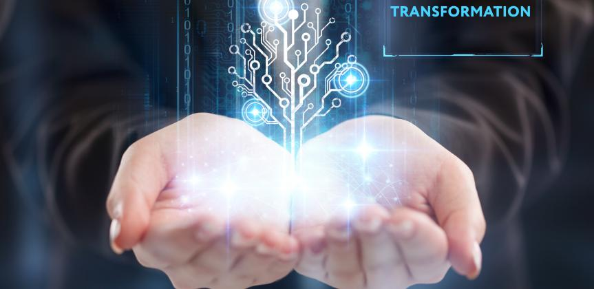 two cupped hands holding an image that conveys digital transformation