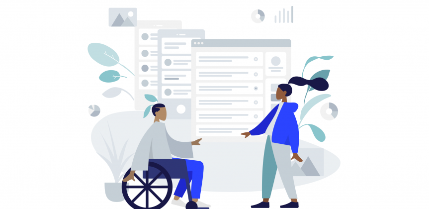Illustration of man sitting in wheel chair and woman standing against background projecting a checklist diagram.