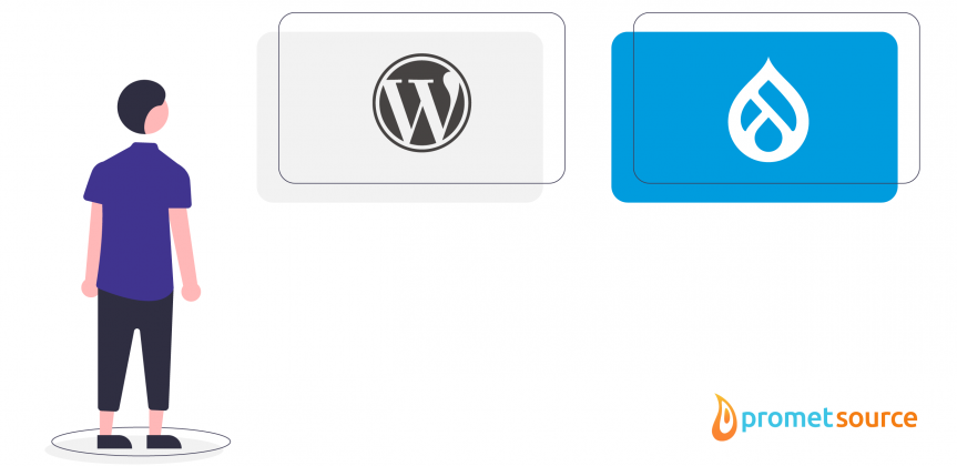 WordPress vs. Drupal logos