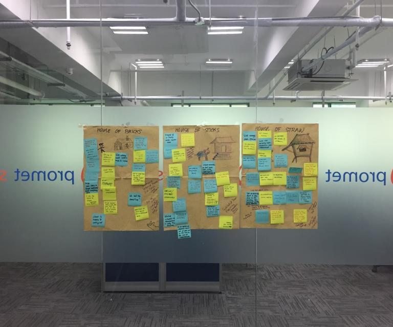 retrospective post-it brainstorm wall
