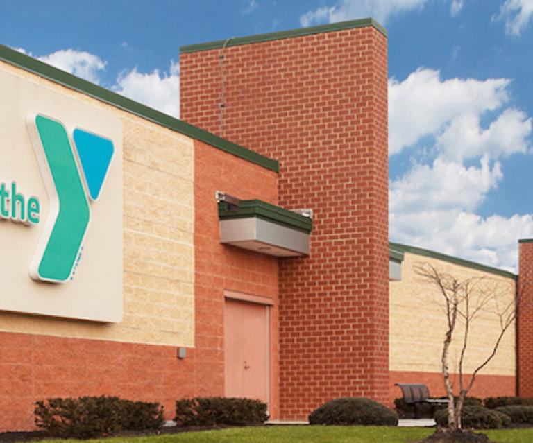 YMCA building entrance with Y logo