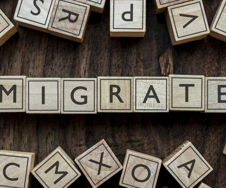 Image of a Scrabble Board with letters that spell migrate