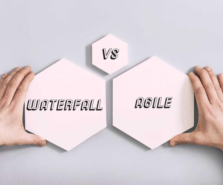 3 hexagons with the words Waterfall vs. Agile