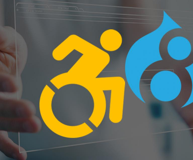 Disabled person icon to the left of the Drupal 8 logo