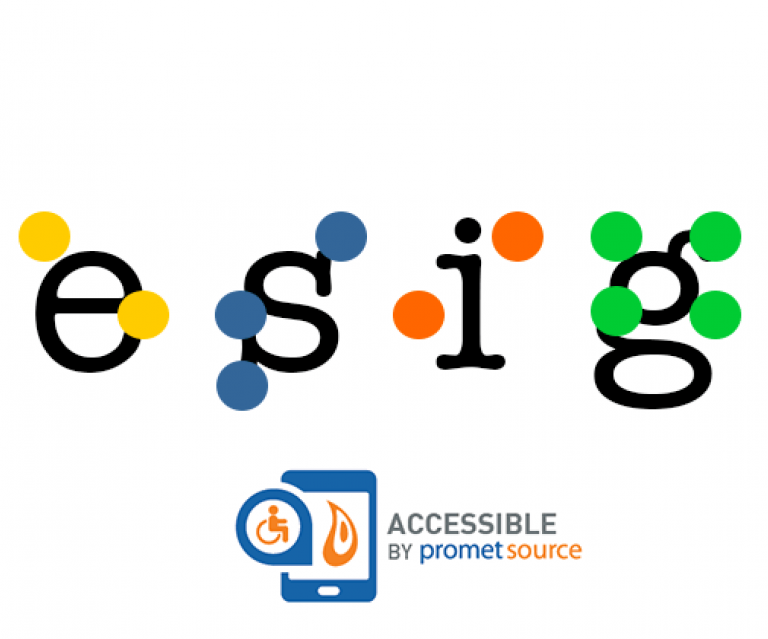 "The word ""design"" in lower case letters overlaid with braille dots and the ""accessible by Promet Source"" logo"