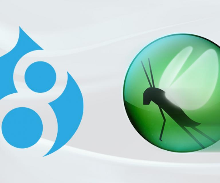 A side-by-side image of the Drupal 8 and Locust logos.