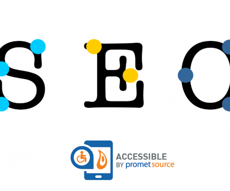 The letters SEO and their Braille equivalents to depict the connection between SEO and web accessibility