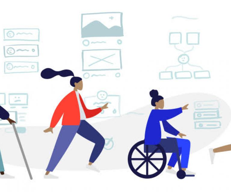 Four figures representing disabilities, proceeding in a row with website wireframes in the background.