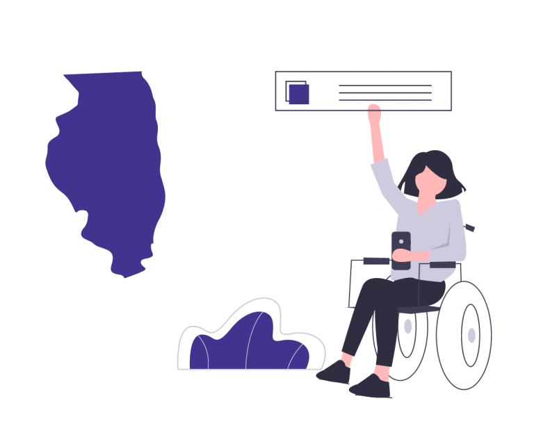 Outline of the state of Illinois and a woman in a wheelchair