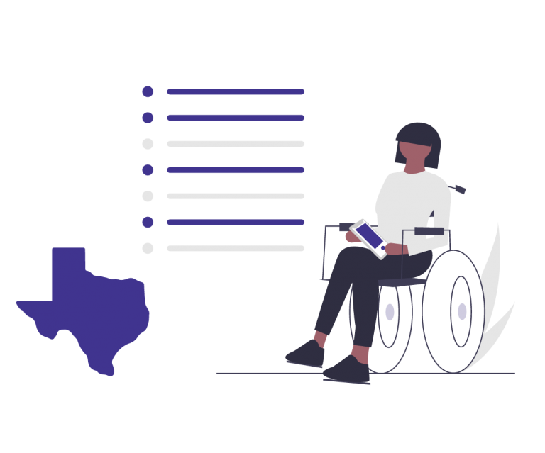State of Texas outline to the left of a woman in a wheelchair