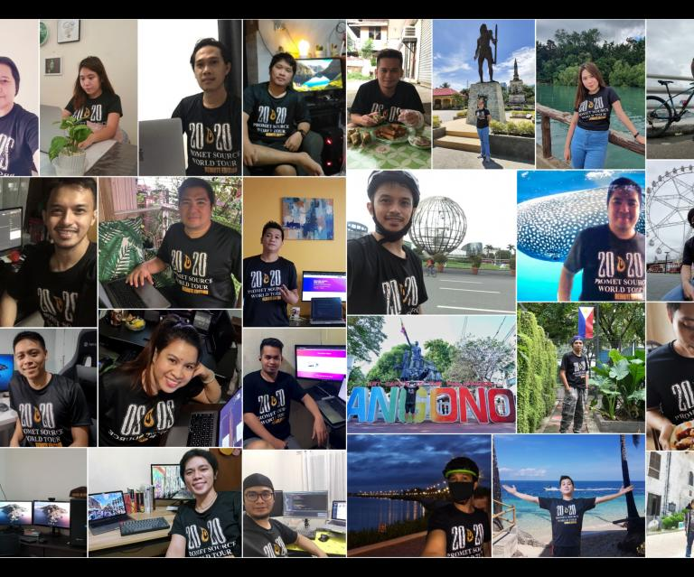 Image of smiling faces of people wearing Promet t-shirt on video conference.