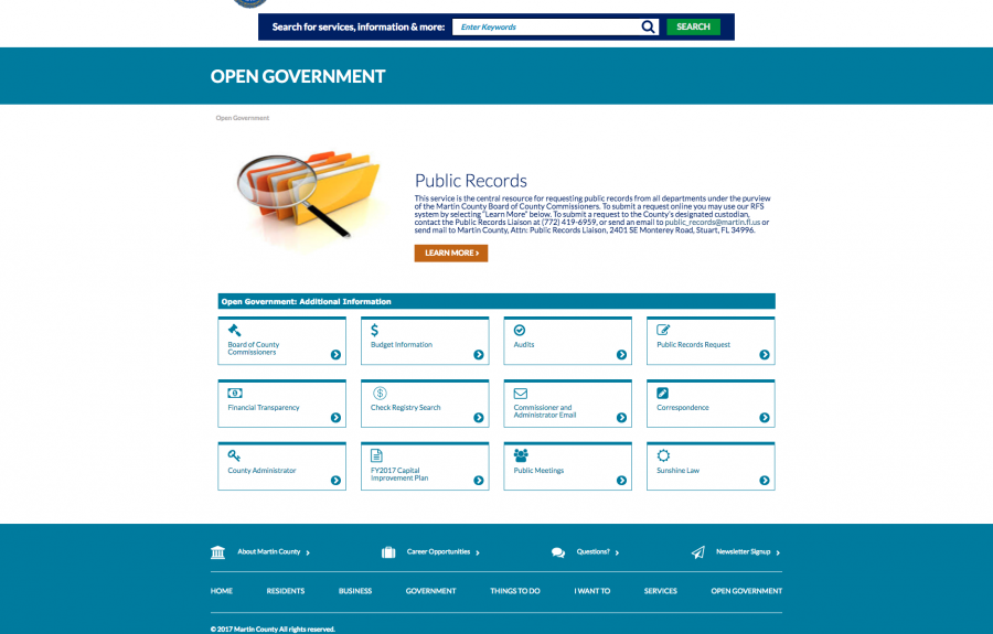ada web accessibility martin county florida open government screenshot