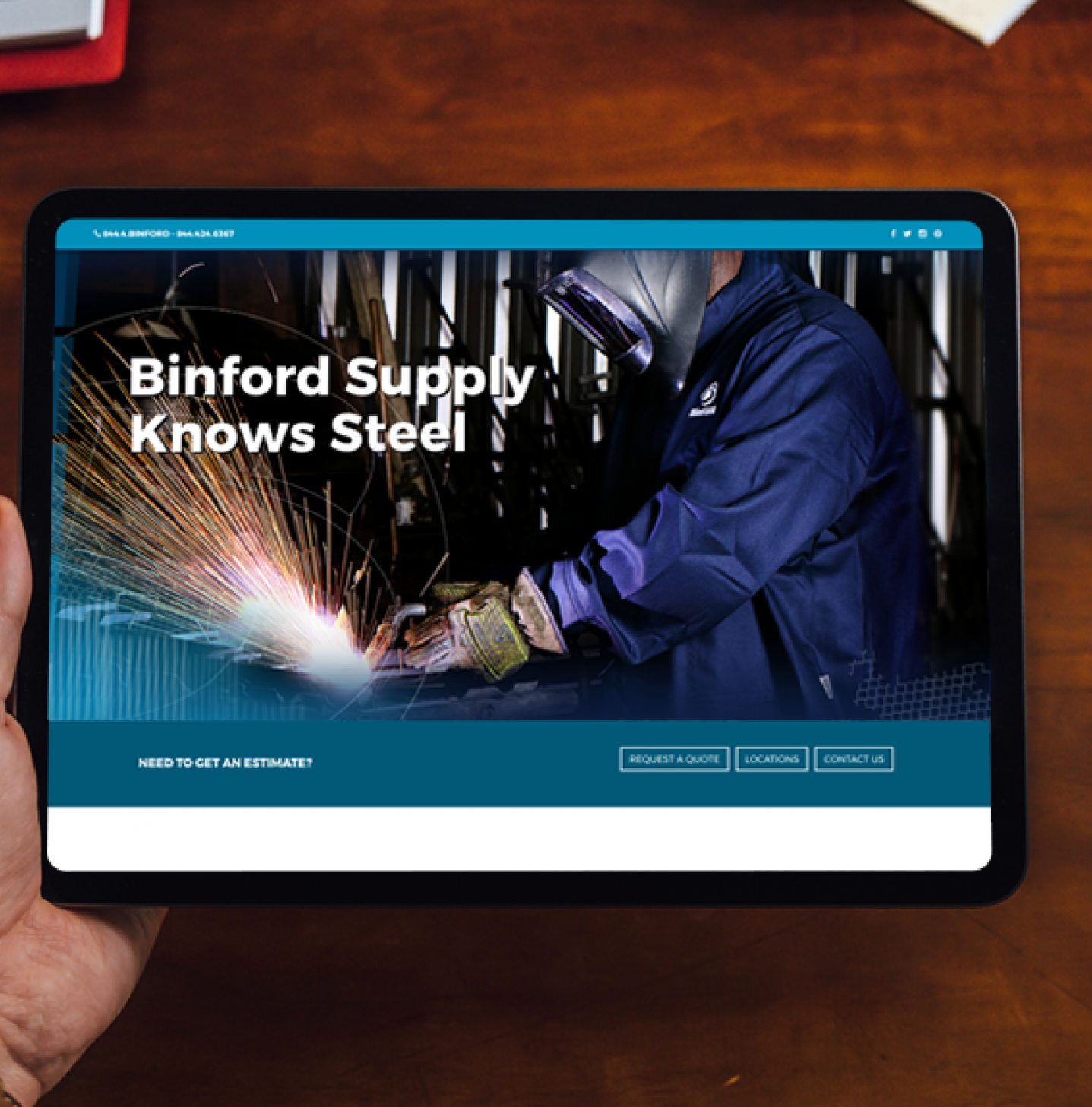 Image of Binford Fence Supply website on iPad